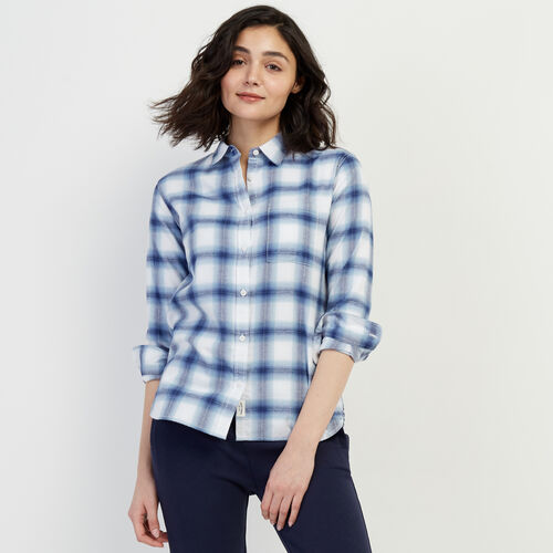 Roots-Women Categories-Journey Flannel Shirt-Celestial Blue-A
