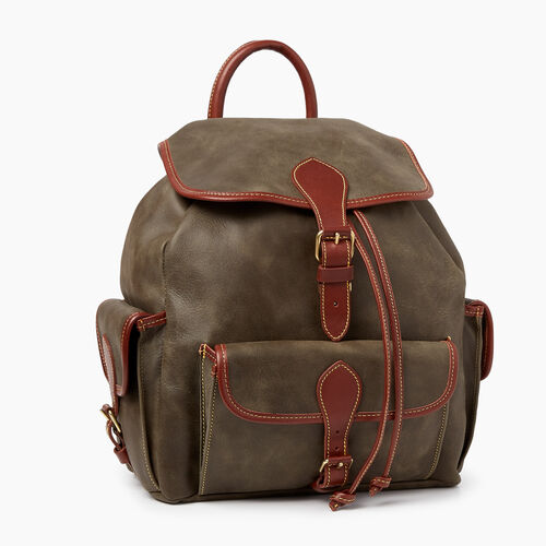 Roots-Leather  Handcrafted By Us Backpacks-Hiking Pack Tribe-Pine-A