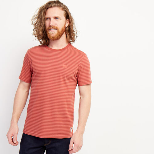 Roots-Men Clothing-Tribune Stripe T-shirt-Light Mahogany-A