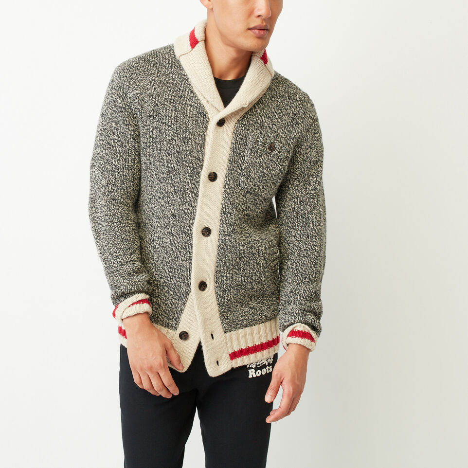 Roots-Clearance Men-Roots Cabin Shawl Cardigan-Grey Oat Mix-A