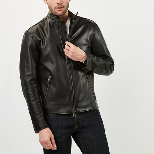 Roots-Men Leather Jackets-Keith Jacket-Black-A