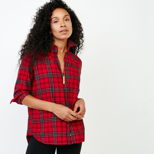 Roots-Women Categories-Relaxed Flannel Shirt-Cabin Red-A