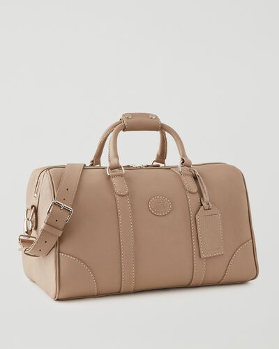 Roots-Leather Weekender Bags-Small Banff Parisian-Latté-A