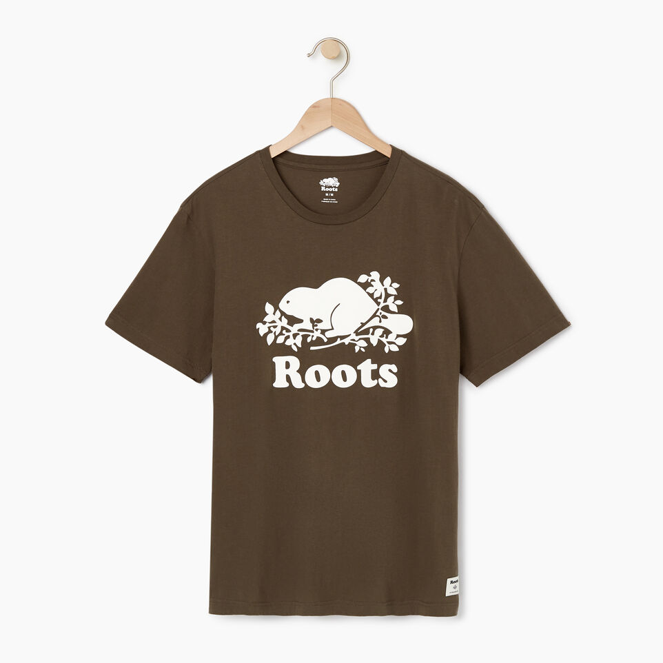 Roots-Men New Arrivals-Mens Cooper Beaver T-shirt-Fatigue-A