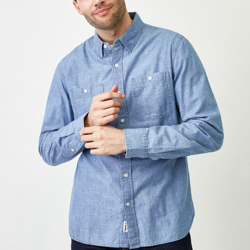 Roots-Men Tops-Saltspring Work Shirt-Chambray Blue-A
