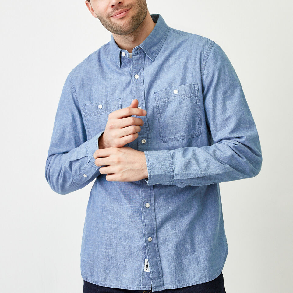 Roots-Men Our Favourite New Arrivals-Saltspring Work Shirt-Chambray Blue-A