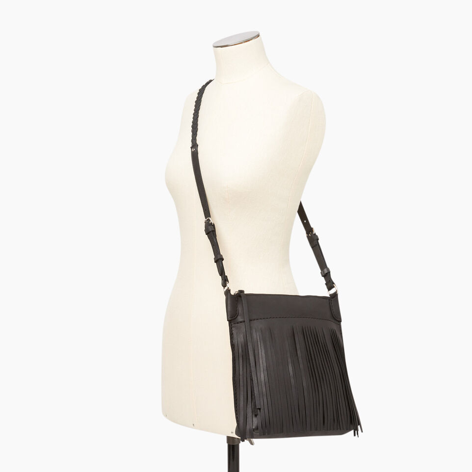 Roots-Leather  Handcrafted By Us Our Favourite New Arrivals-The Hippy Bag-Jet Black-B