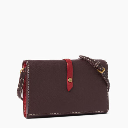 Roots-Leather  Handcrafted By Us Wallets-Large Stella Wallet Bag-Raspberry Wine-A