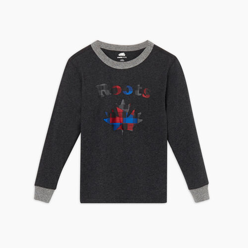 Roots-New For November Kids-Boys Maple Sleep Top-Black Mix-A
