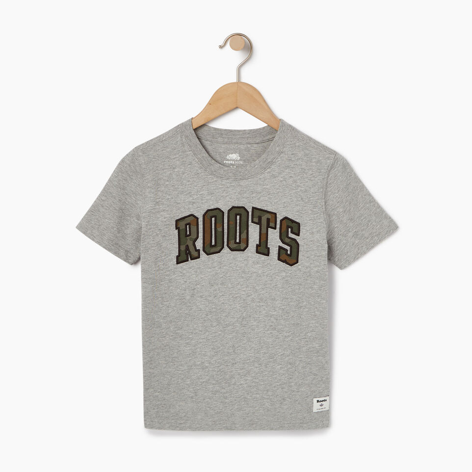 Roots-Kids Tops-Toddler Arch Roots T-shirt-Grey Mix-A