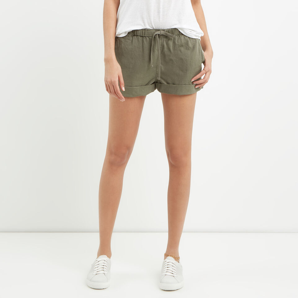 Roots-Clearance Women-Woodland Short-Dusty Olive-A