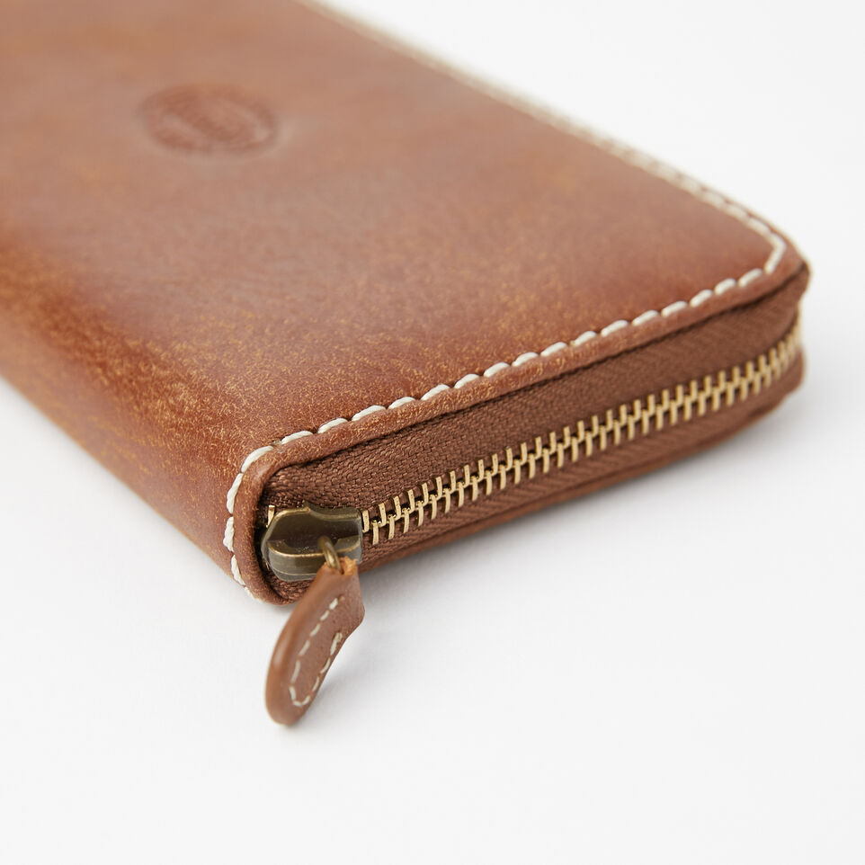 Roots-Leather Wallets-Zip Around Clutch Tribe-Natural-E