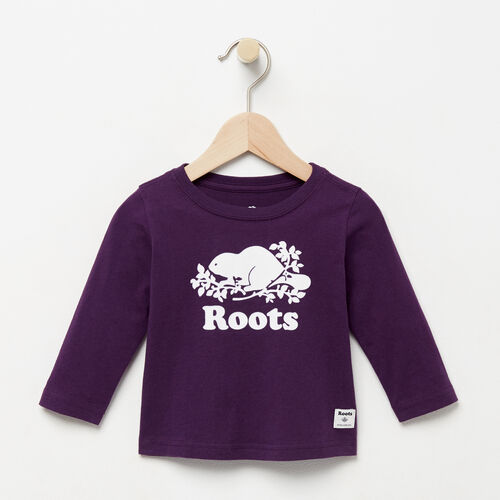 Roots-Sale Kids-Baby Original Cooper Beaver T-shirt-Purple Pennant-A