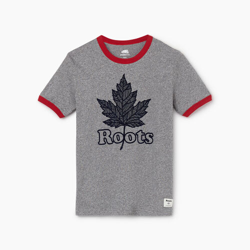 Roots-Kids New Arrivals-Boys Roots Maple T-shirt-Salt & Pepper-A