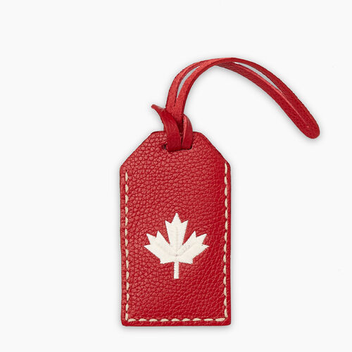 Roots-Leather Leather Accessories-Maple Leaf Luggage Tag Cervino-Canadian Red-A