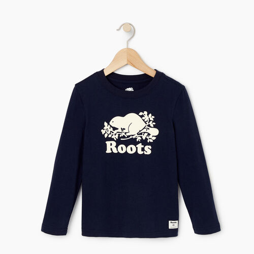 Roots-Kids T-shirts-Toddler Original Cooper Beaver T-shirt-Navy Blazer-A
