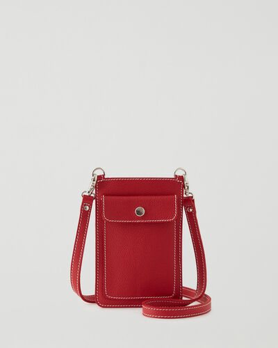 Roots-Leather New Arrivals-Phone Pouch Cervino-Lipstick Red-A