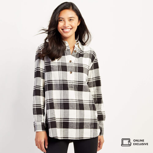 Roots-New For November Online Exclusives-Flannel Popover-Cloudy White-A