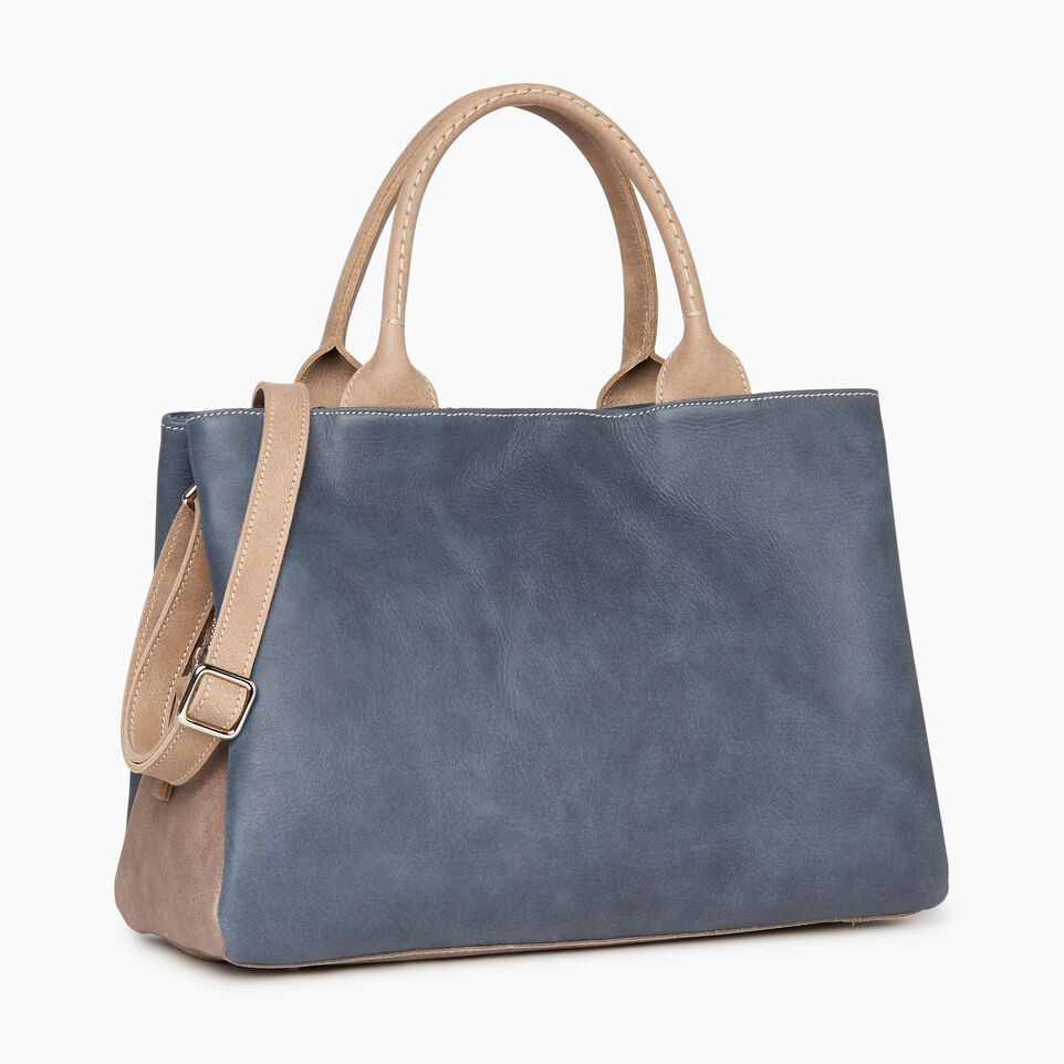 Roots-Leather Collections-Mont Royal Bag - Colour Block-Navy-C