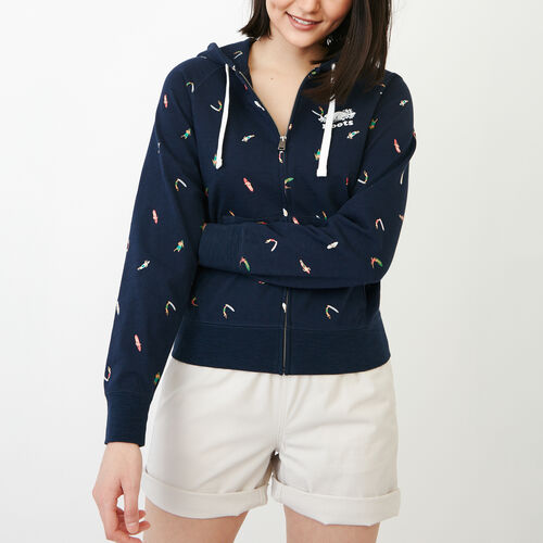Roots-Clearance Women-Surf Full Zip Hoody-Navy Blazer-A