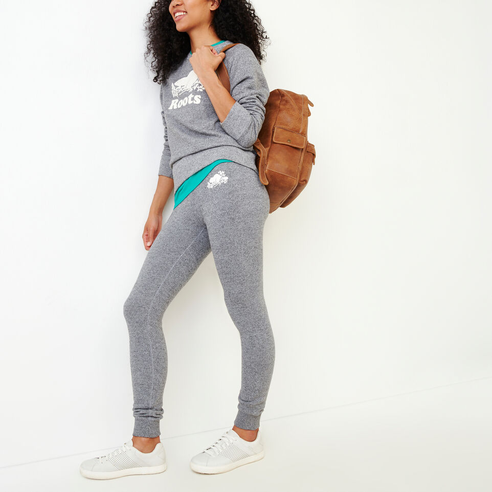 Roots-Women Categories-Cozy Fleece Skinny Sweatpant-Salt & Pepper-B