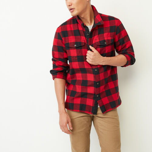 Roots-Men Our Favourite New Arrivals-Park Plaid Shirt-Lodge Red-A
