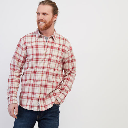 Roots-Men Clothing-Waverely Plaid Shirt-Cabin Red-A