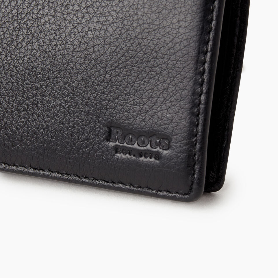 Roots-Leather Wallets-Mens Slimfold With Coin-Black-C