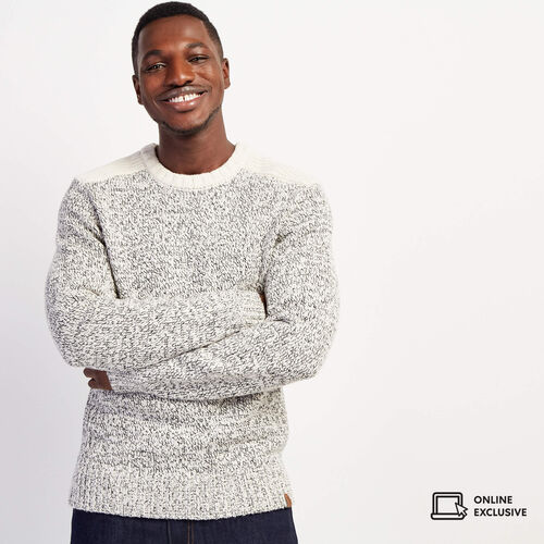Roots-Men Tops-Snowy Fox Colour Blocked Crew Sweater-Snowy Fox-A