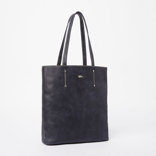 Roots-Winter Sale Leather-Large Downtown Tote Tribe-Dark Navy-A