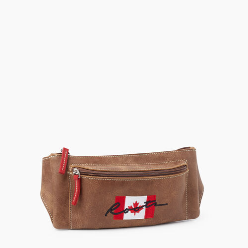 Roots-Leather Mini Leather Handbags-Script Canada Fanny Pack Tribe-Natural-A