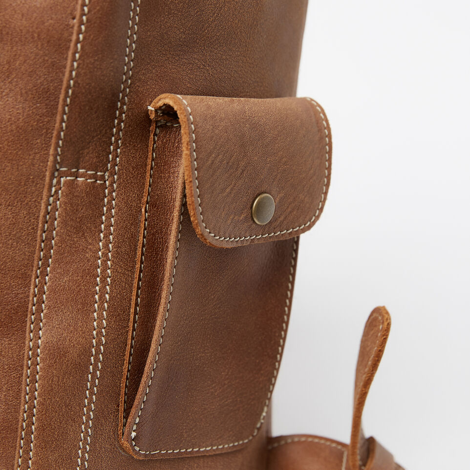 Roots-Leather Backpacks-Student Pack Tribe-Natural-D