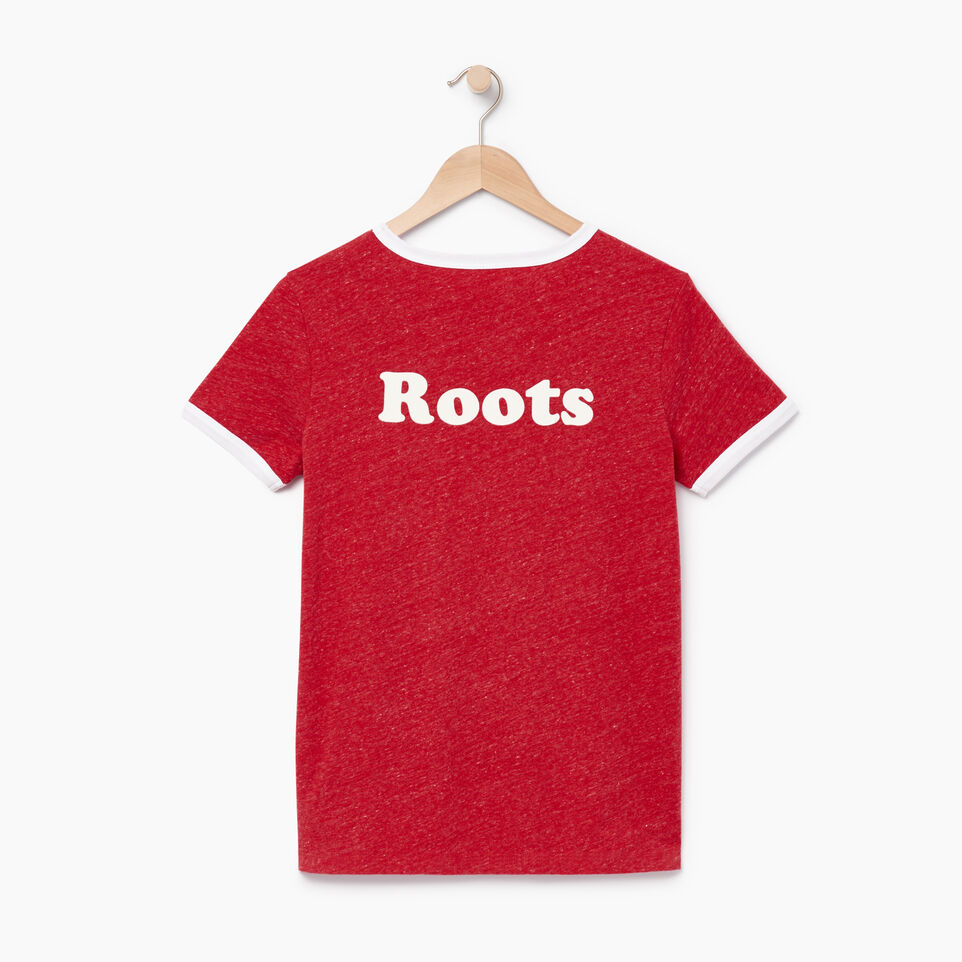Roots-Women Graphic T-shirts-Womens Roots Ringer T-shirt-Sage Red Mix-B