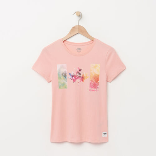 Roots-Women Graphic T-shirts-Womens Good Vibes T-shirt-Blossom Pink-A