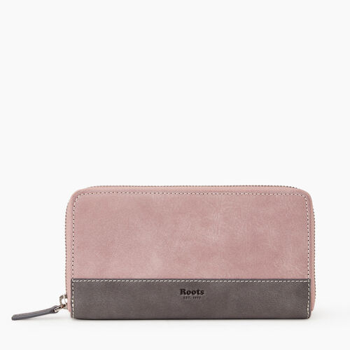 Roots-Leather Women's Wallets-Zip Around Clutch Colour Block-Woodrose-A