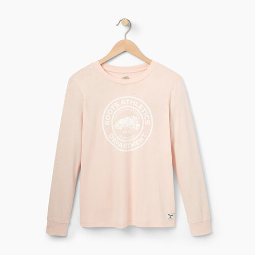 Roots-Women Graphic T-shirts-Womens Roots Department Long Sleeve-Pink Cloud-A