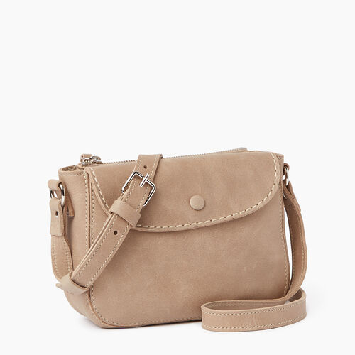 Roots-Leather  Handcrafted By Us Handbags-Riverdale Crossbody-Sand-A