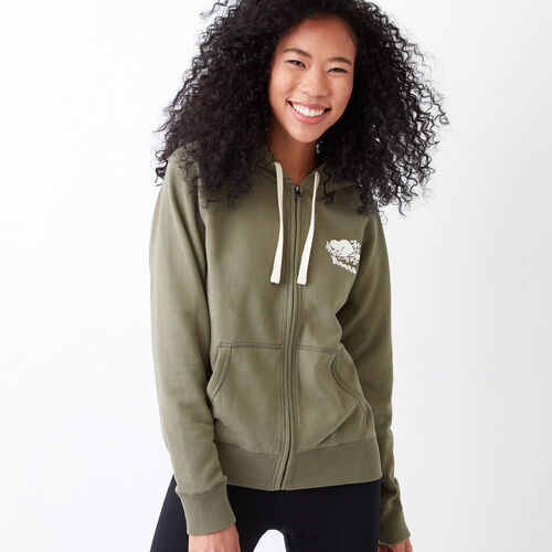 Roots-Women Bestsellers-Original Full Zip Hoody-Lichen-A