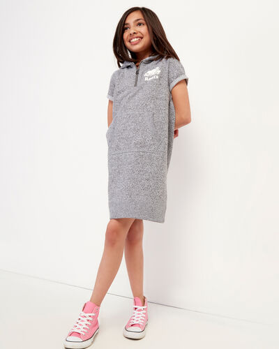 Roots-Kids Girls-Girls Dockside Hooded Dress-Salt & Pepper-A