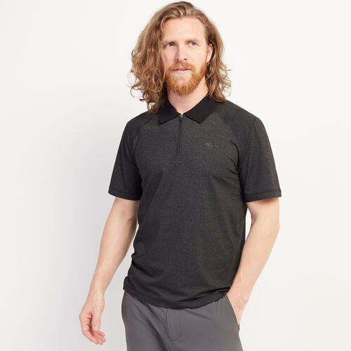 Roots-Men Clothing-Journey Zip Polo-Black Mix-A