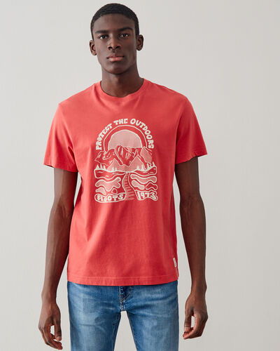 Roots-Men Graphic T-shirts-Mens Protect The Outdoors T-shirt-Cranberry-A