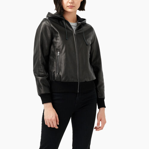 Roots-Leather Leather Jackets-Alex Hoody Lamba-Black-A