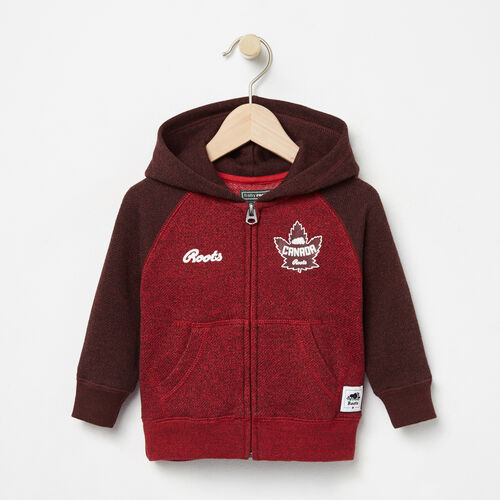 Roots-Kids Collections-Baby Heritage Canada Full Zip Hoody-Sage Red Pepper-A