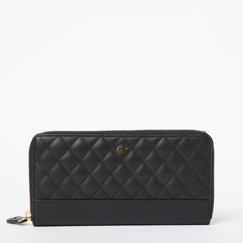Roots-Women Wallets-Two Toned Wallet Quilted-Black-A