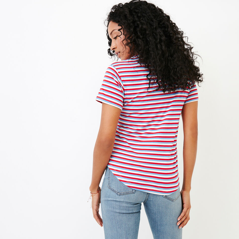 Roots-New For August Women-Aster Stripe Top-Racing Red-D