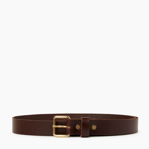 Roots-Men Leather Accessories-Roots Unisex Belt-Brown-A