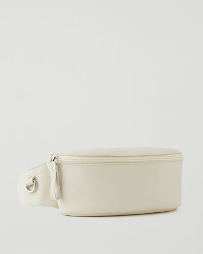 Roots-Leather Leather Bags-Large Belt Bag Cervino-Ivory-A