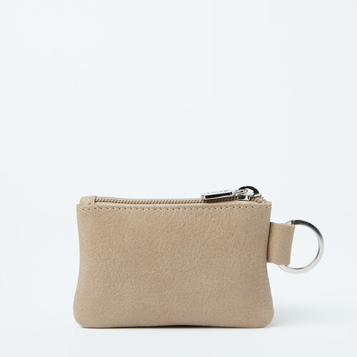 Roots-Leather Leather Pouches-Top Zip Key Pouch Tribe-Sand-A