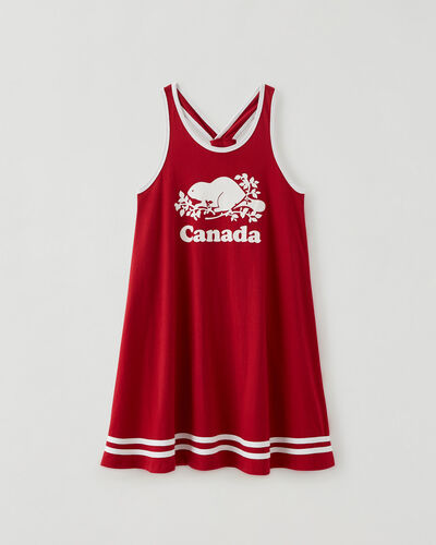 Roots-Kids Canada Collection-Girls Canada Tank Dress-Sage Red-A