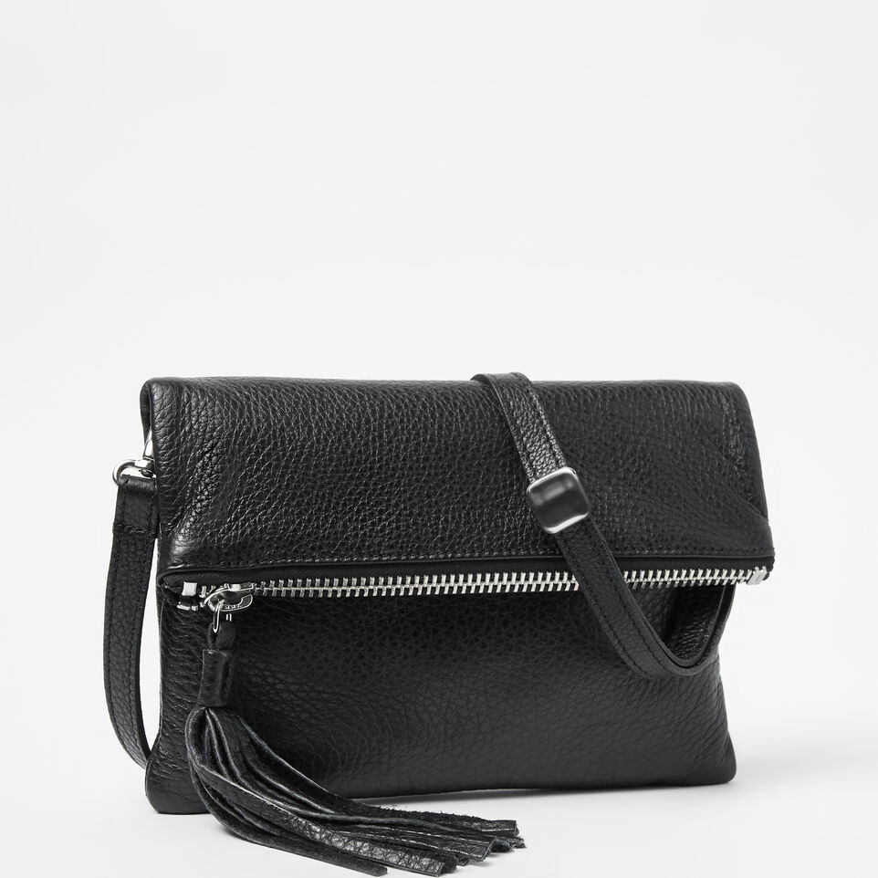 Roots-Leather  Handcrafted By Us Crossbody-Anna Clutch Prince-Black-A